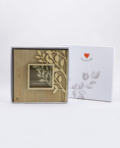 portafoto legno albero della vita con scatola cuorematto