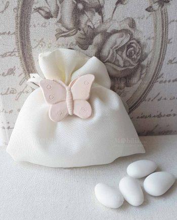 Sacchettini Portaconfetti con Magnete Farfalla Rosa Cipria