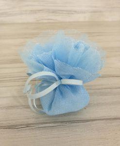 Sacchetti Portaconfetti Battesimo Bimbo Juta Cotone Azzurri