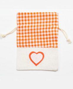 Sacchetti Portaconfetti Arancioni Juta con Cuore