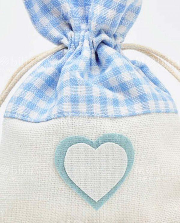 sacchettino juta con cuore e quadretti azzurri