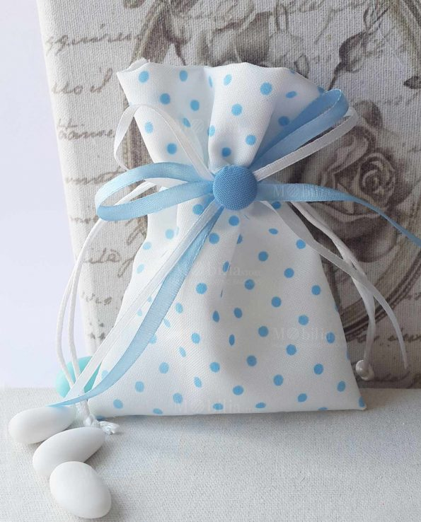 Sacchetti Portaconfetti Battesimo e Nascita con Pois Azzurri