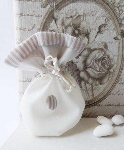 Sacchetti Per Confetti Panna con Righe Tortora