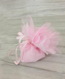 Sacchetti Portaconfetti Battesimo Bimba Juta Cotone Rosa