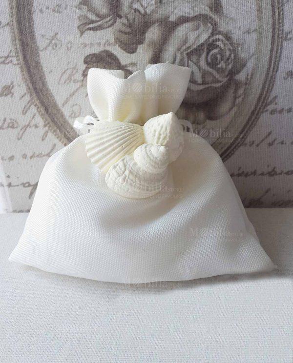 Sacchetti Portaconfetti con Magnete Conchiglia Bianca
