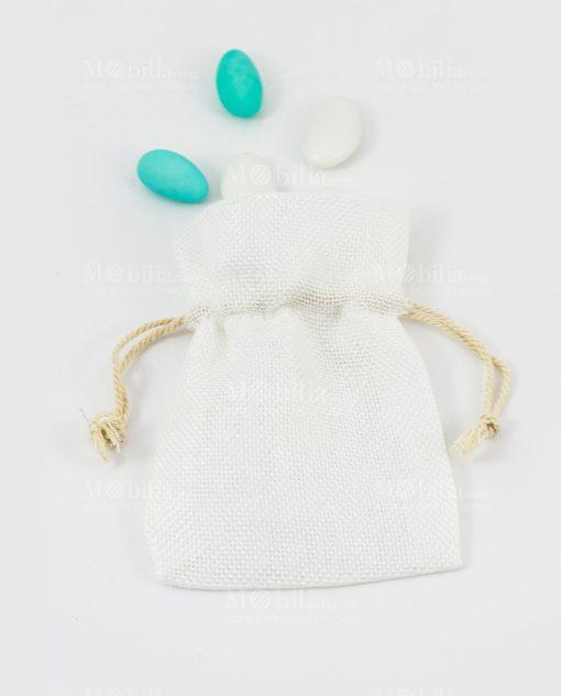 sacchetto portaconfetti bianco con cordoncino