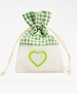 Sacchetti Portaconfetti Verdi Juta con Cuore