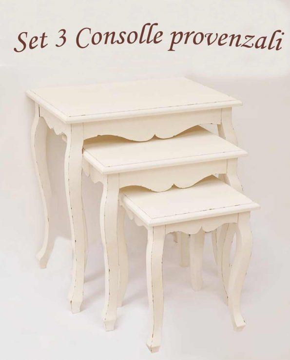 Consolle legno decapato Set 3 pezzi