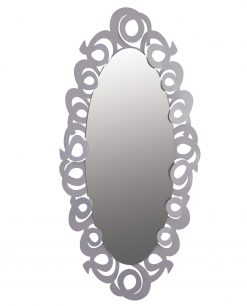 specchio ovale modello nastri colore alluminio arti e mestieri