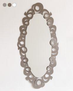 specchio ovale modello nastri colore beige fango arti e mestieri