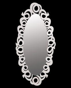 specchio ovale modello nastri colore bianco arti e mestieri