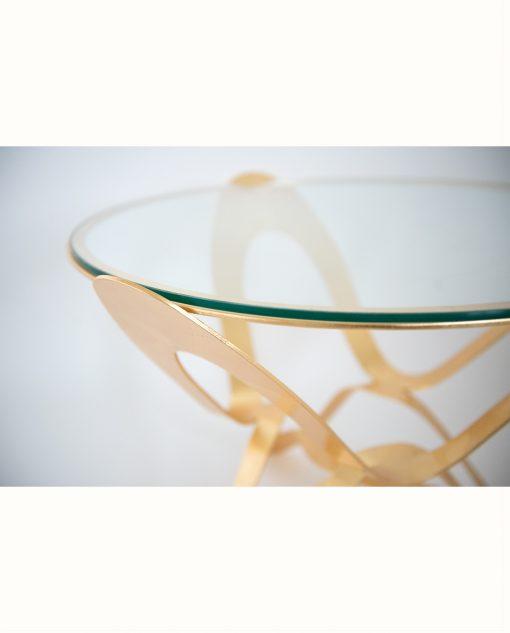 tavolo modello ninfa colore oro particolare vetro