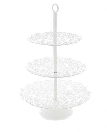 Alzate per Confettata 3 Piani Fiori Metallo Bianco