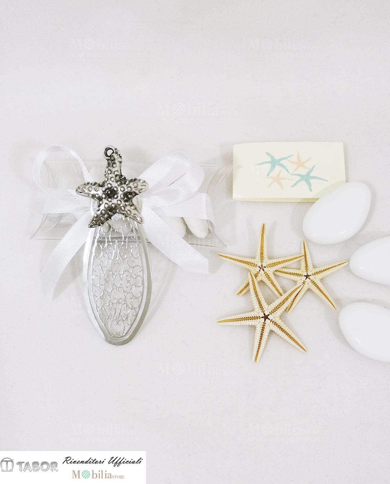 Bomboniere Matrimonio Tema Natalizio : Bomboniere segnalibro stella marina argento su tubicino