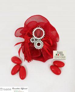 lente di ingrandimento ingranaggi tabor su sacchetto organza rossa