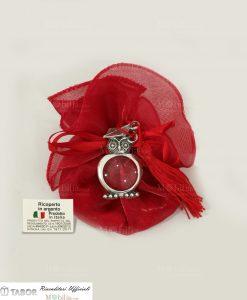 lente di ingrandimento gufo tabor su sacchetto organza rossa