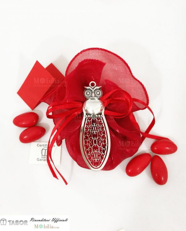 bomboniera segnalibro con gufo argento tabor su sacchettino organza rossa