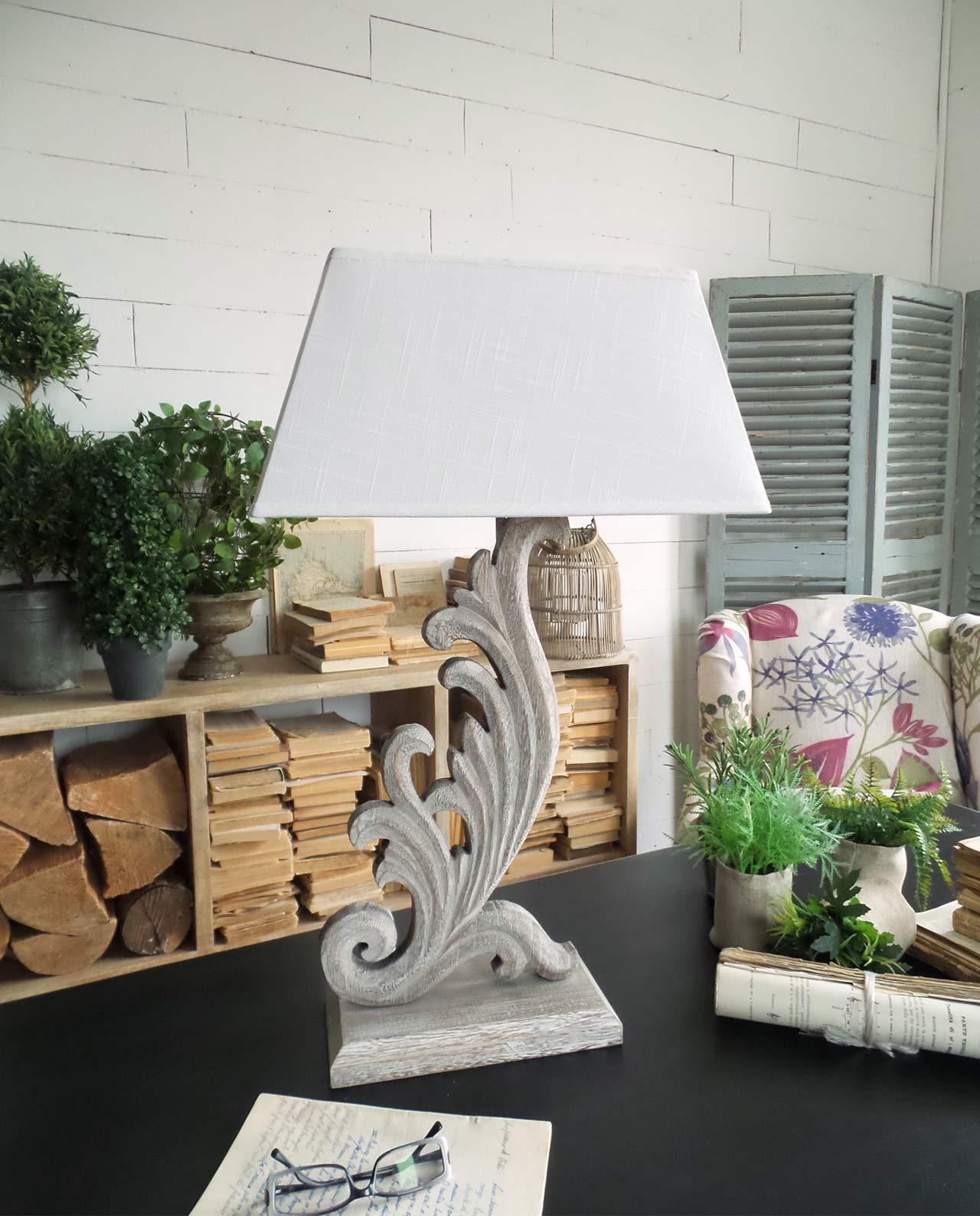 Lampada da tavolo legno con decori in offerta mobiliastore - Lampade da tavolo particolari ...