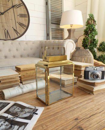 Lanterna Rettangolare Oro Stile Vintage
