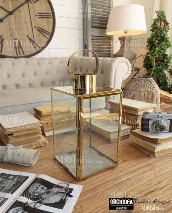Lanterna Quadrata Oro Stile Vintage