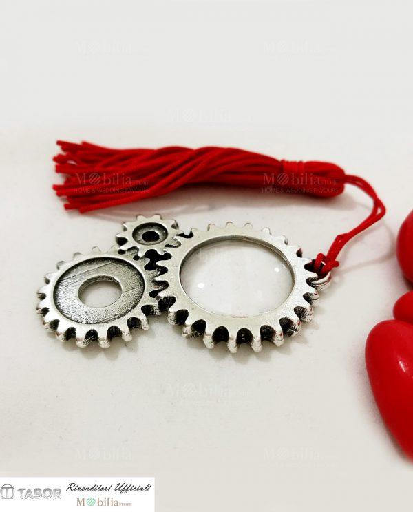 lente di ingrandimento con ingranaggi microfusione argento con nappina rossa tabor