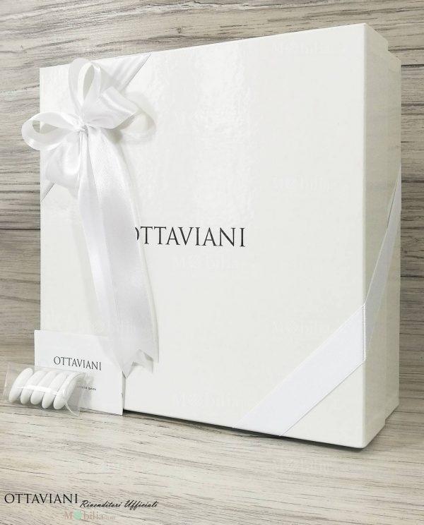 scatola ottaviani confezionata con doppi fiocchi bianchi