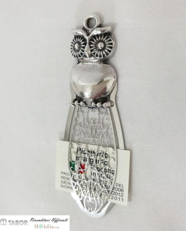 Segnalibro decorato con Gufo argento tabor
