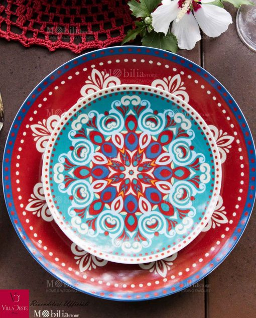 Servizio Piatti Porcellana Colorata Shiraz Villa D'Este