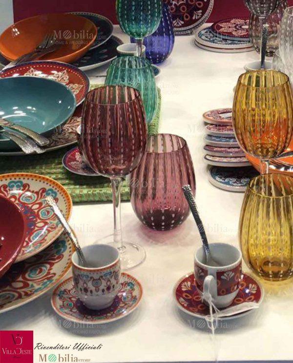 Tazzine Caffè Porcellana Colorata Shiraz Villa D'Este