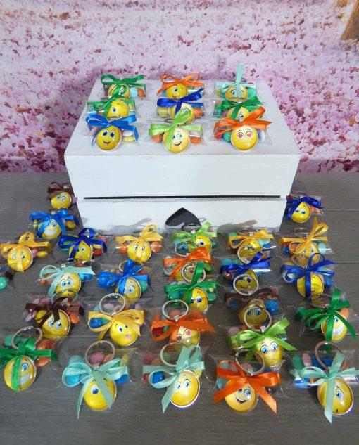 bomboniera portachiavi smile su tubicino con confetti