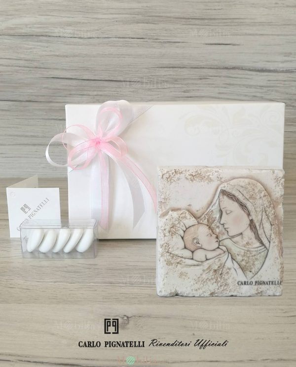 bomboniera icona maternità da appoggio grande confezionata con scatola e nastri rosa