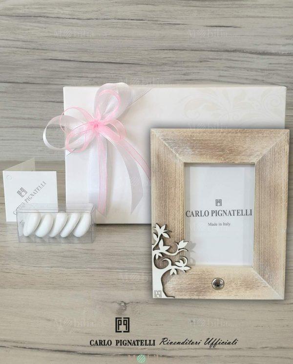 Portafoto Albero della Vita Linea Antares Carlo Pignatelli confezionato con nastri rosa