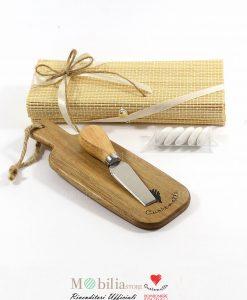 bomboniera tagliere monoporzione con Coltellino confezionato con box nastrino bianco e cordoncino
