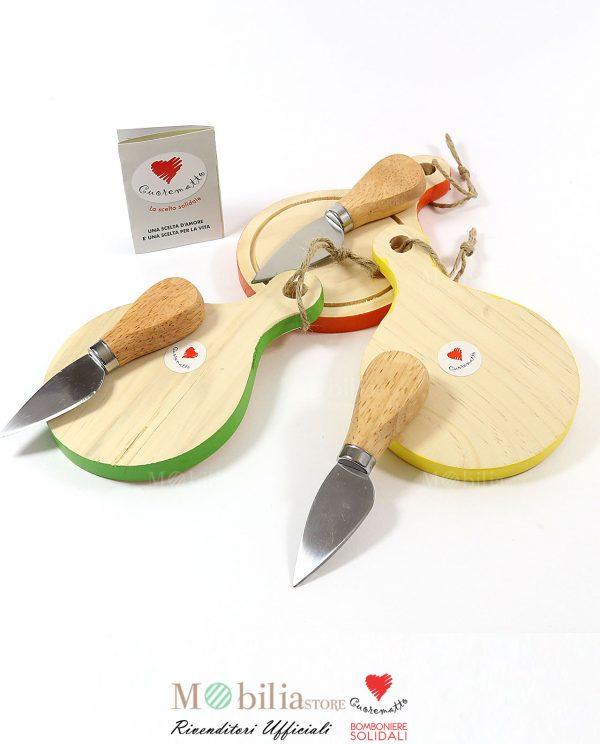 Bomboniere Solidali Taglieri con coltello e Box Bamboo Cuorematto