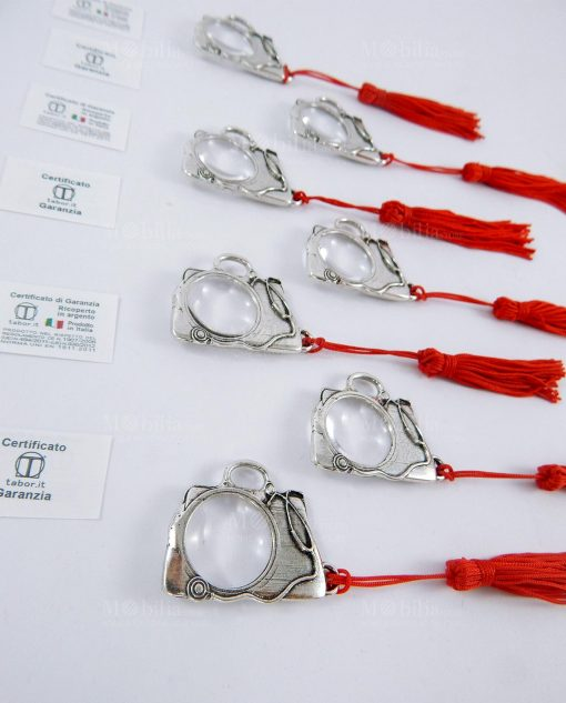 ciondoli argento lente di intrandimento borsa dottee con nappina rossa