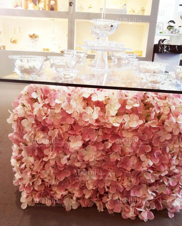 Allestimento Matrimonio Pannelli Decorativi Fiori Ortensie Rosa
