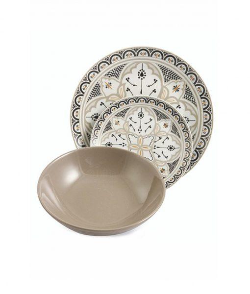 Servizio piatti colorati in porcellana Marocco Villa D'Este