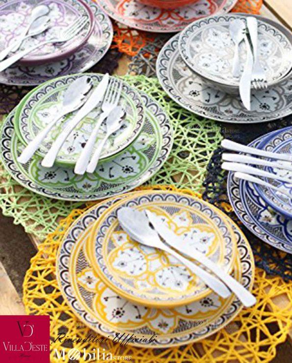 Servizio Piatti Colorati Porcellana Marocco Villa D'Este