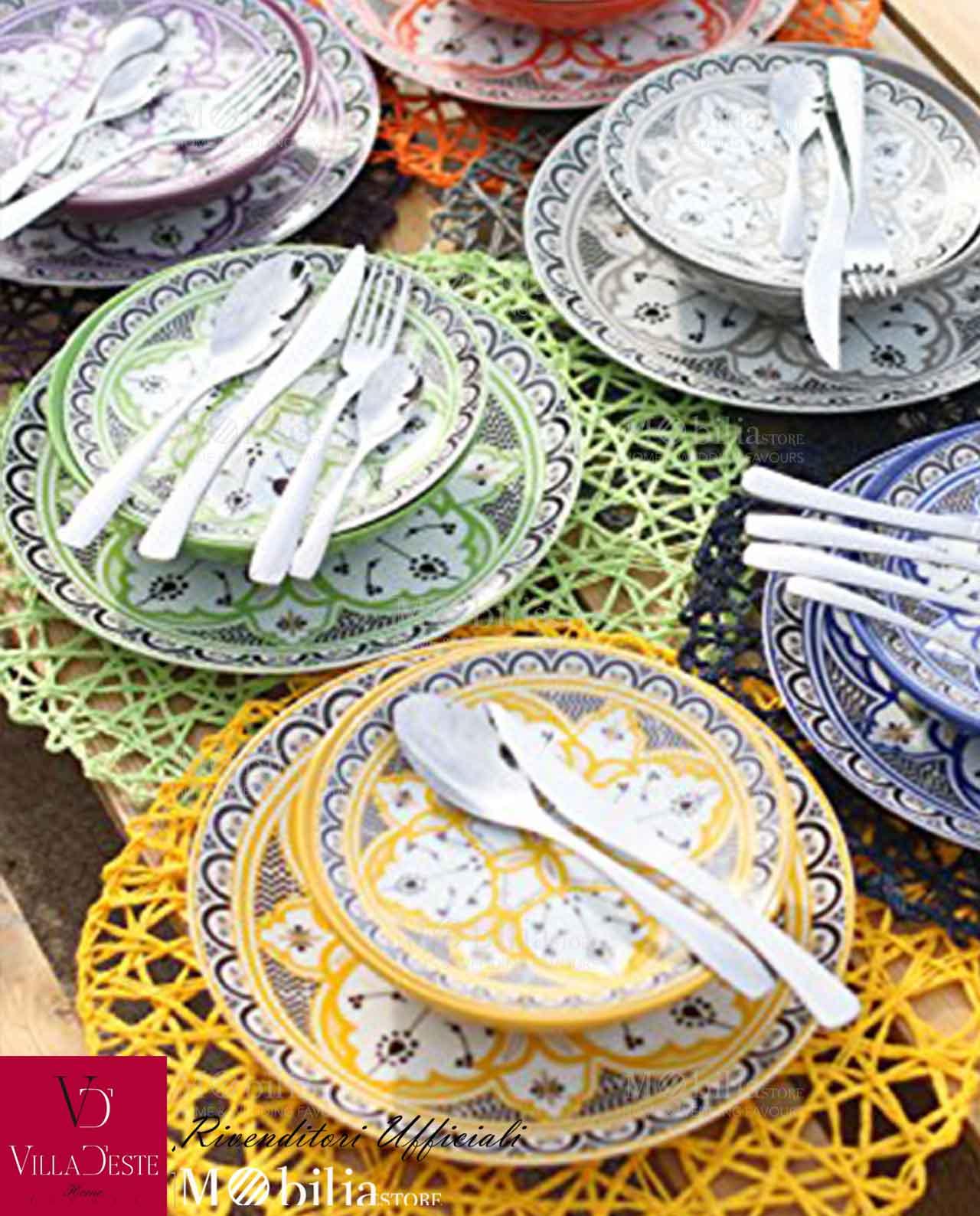Servizio piatti colorati porcellana marocco villa d este for Servizio di piatti