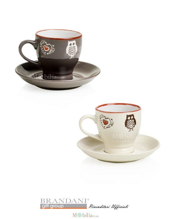 Tazzine Caffè Brandani Shabby Set 2 Pezzi Cuore e Gufo