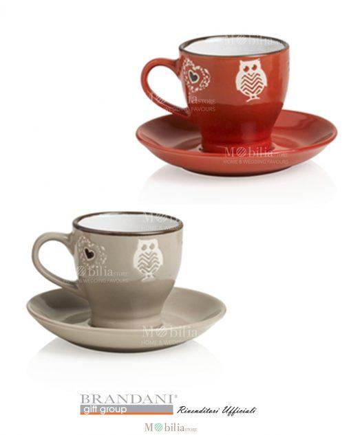 set tazzine rosso e tortora in stoneware brandani