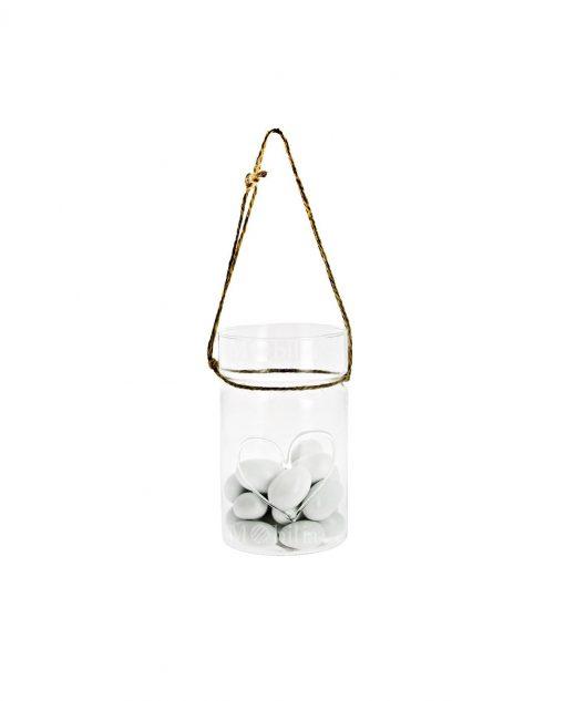 vasetto con cuore vetro soffiato e cordoncino 5 X 65