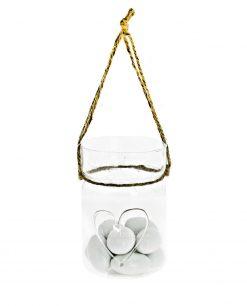 vasetto con cuore vetro soffiato e cordoncino 7 x 115