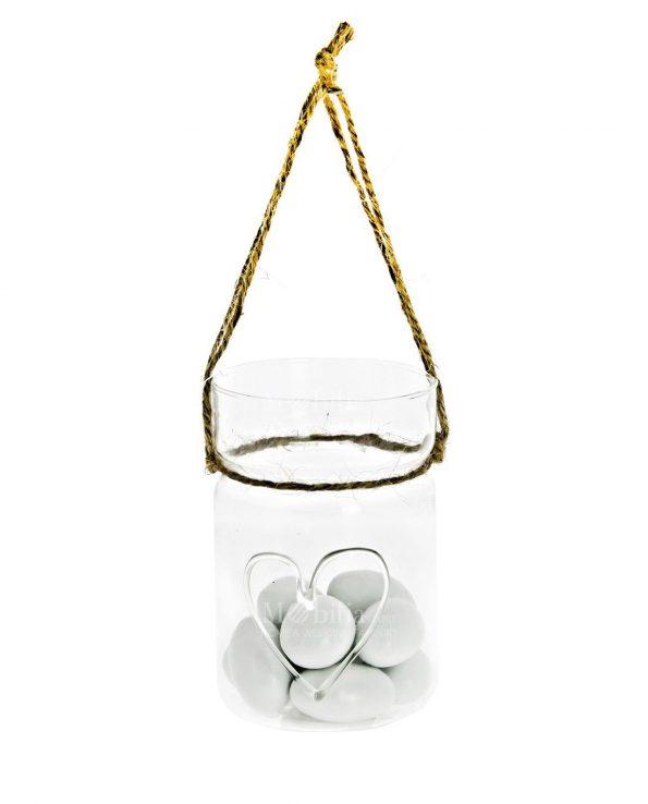Vasetti Vetro con Cuore e Cordoncino per Confettata Matrimonio