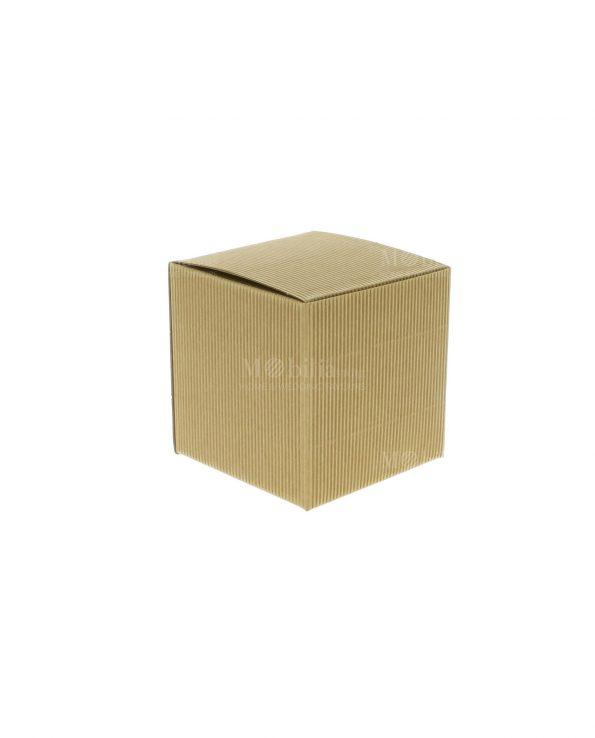Scatole per Bomboniere Pieghevoli Cartoncino Quadrato Onda Avana