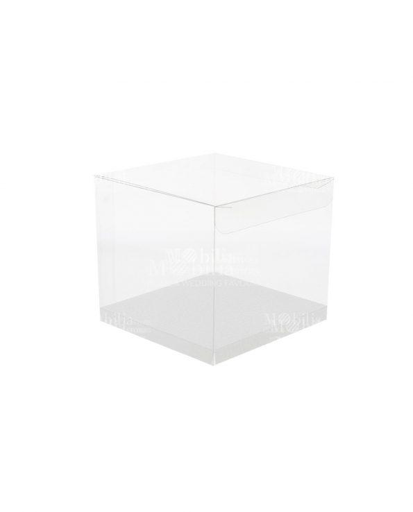 Scatole per Bomboniere Quadrate Trasparenti con Fondo Cartoncino