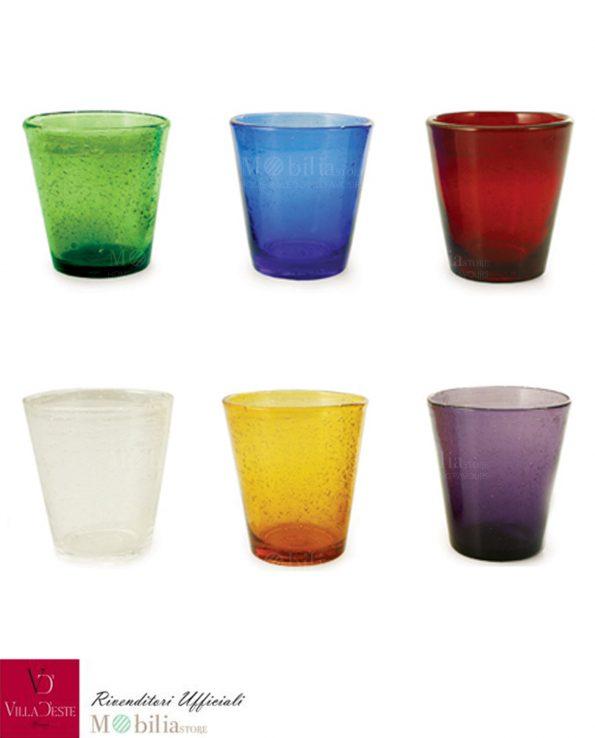 Bicchieri acqua vetro set 6 pezzi multicolor cancun villa for Bicchieri colorati vetro