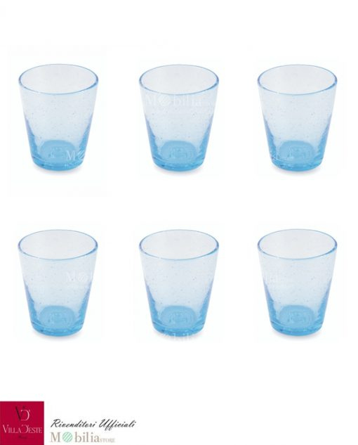 Set 6 Bicchieri Acqua Vetro Blu Azzurro Cancun Villa d'Este