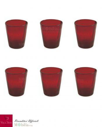 Bicchieri Acqua Vetro Set 6 Pezzi Rossi Cancun Villa d'Este