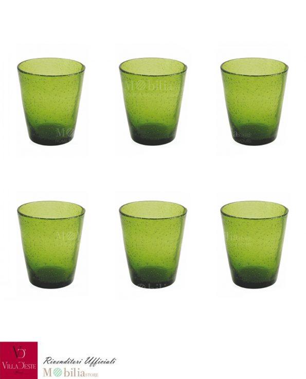 Villa d'Este Set 6 Bicchieri Acqua Vetro Verde Cancun